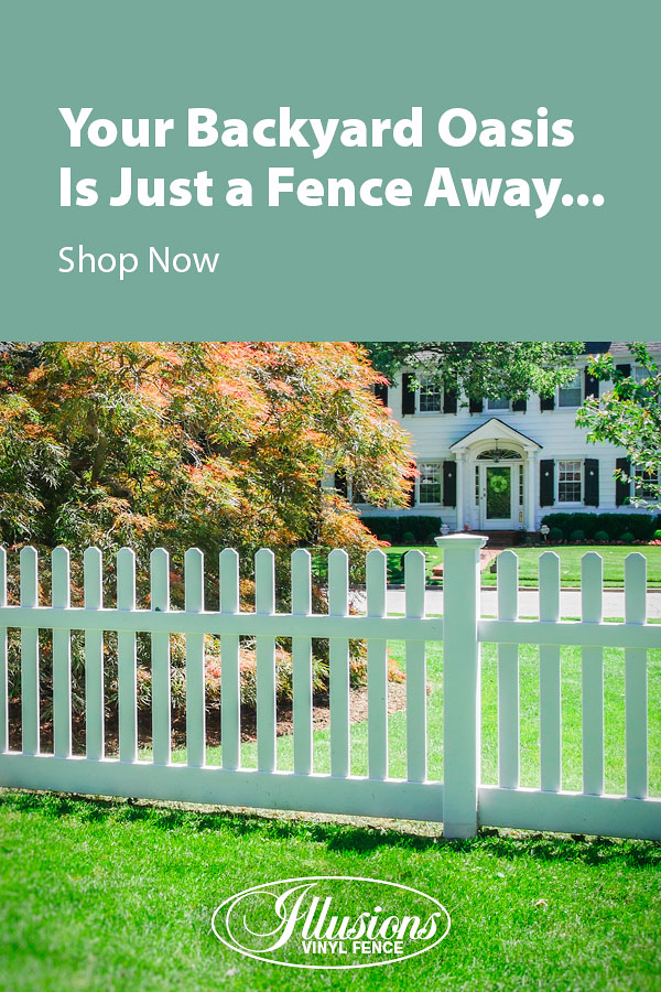 Your Backyard Oasis is Just a Fence Away with Illusions Vinyl Fence. Shown here is a V350 style fence in Classic White #fence #fences #fencing #vinylfence #vinylfencing #fencepanels #fenceideas #homeideas #homedecor #backyardideas #privacyfence #privacyfences #poolfence #poolfences #longisland #longislandny #newyork #connecticut #rhodeisland #massachusetts #connecticut #pennsylvania #newjersey #fencecompany #bestfence #fencecontractor #fenceinstaller #yardfence