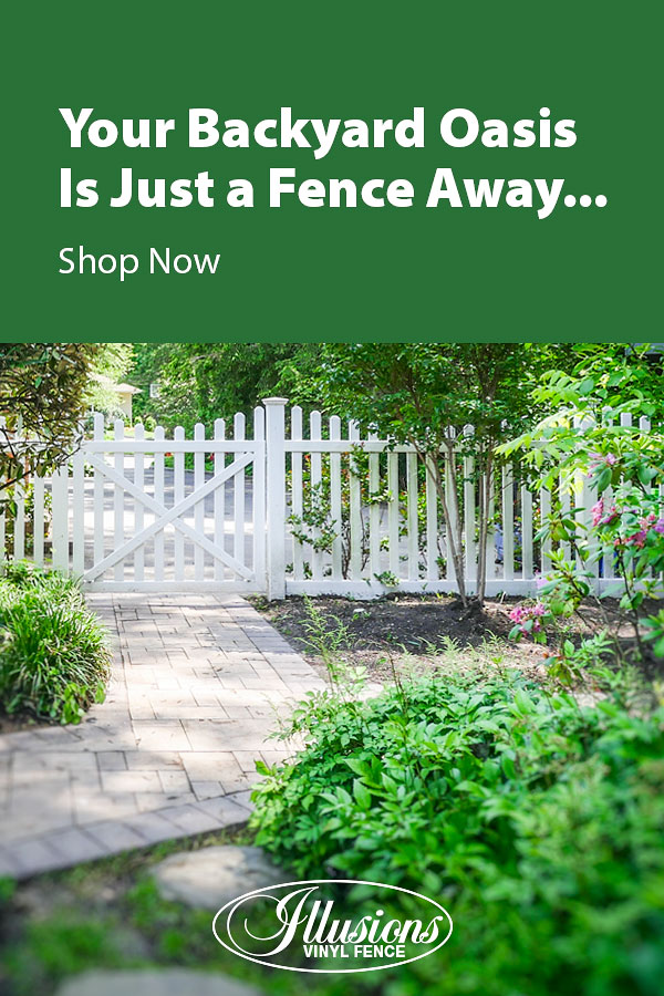 Your Backyard Oasis is Just a Fence Away with Illusions Vinyl Fence. Shown here is a V352-4TR fence with matching gate in Classic White #fence #fences #fencing #vinylfence #vinylfencing #fencepanels #fenceideas #homeideas #homedecor #backyardideas #privacyfence #privacyfences #poolfence #poolfences #longisland #longislandny #newyork #connecticut #rhodeisland #massachusetts #connecticut #pennsylvania #newjersey #fencecompany #bestfence #fencecontractor #fenceinstaller #yardfence