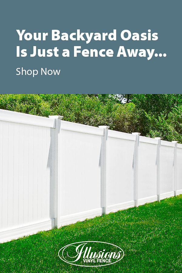 Your Backyard Oasis is Just a Fence Away with Illusions Vinyl Fence. Shown here is a V300-6 tongue and groove vinyl privacy fence in Classic White #fence #fences #fencing #vinylfence #vinylfencing #fencepanels #fenceideas #homeideas #homedecor #backyardideas #privacyfence #privacyfences #poolfence #poolfences #longisland #longislandny #newyork #connecticut #rhodeisland #massachusetts #connecticut #pennsylvania #newjersey #fencecompany #bestfence #fencecontractor #fenceinstaller #yardfence