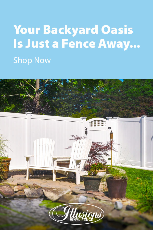 Your Backyard Oasis is Just a Fence Away with Illusions Vinyl Fence. Shown here is a V300-6 tongue and groove vinyl privacy fence in Classic White with a VBG4-46 accent gate with square lattice. #fence #fences #fencing #vinylfence #vinylfencing #fencepanel