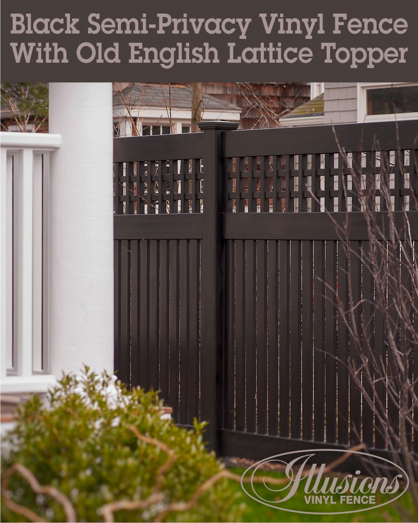 Black V5215OE-6 Semi-Privacy Illusions Vinyl Fence Panels with Old English Lattice look like painted wood fence without the maintenance #fence #fences #fencepanels #fencingpanels #vinylfence #vinylfencing #black #blackfence #colorfence #woodfence #fencecompany