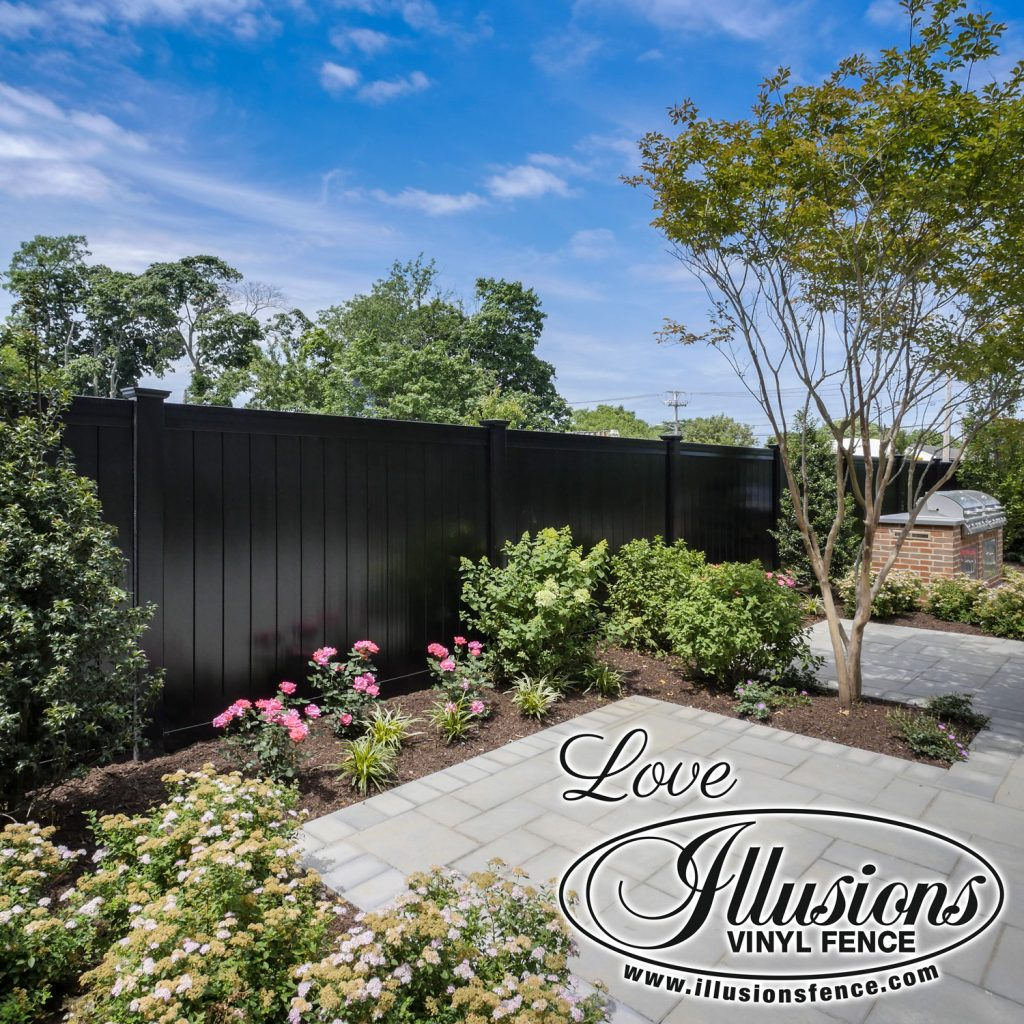 Got to love this gorgeous Illusions V300-6 tongue and groove vinyl privacy fence in Black #fence #fences #fencing #vinylfence #vinylfencing #fencepanels #fenceideas #homeideas #homedecor #backyardideas #privacyfence #privacyfences #poolfence #poolfences #longisland #longislandny #newyork #connecticut #rhodeisland #massachusetts #connecticut #pennsylvania #newjersey #fencecompany #bestfence #fencecontractor #fenceinstaller #yardfence