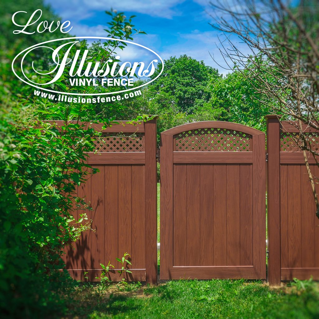 Got to love this stunning Illusions V300-6 tongue and groove vinyl privacy fence with matching accent gate in Rosewood #fence #fences #fencing #vinylfence #vinylfencing #fencepanels #fenceideas #homeideas #homedecor #backyardideas #privacyfence #privacyfences #poolfence #poolfences #longisland #longislandny #newyork #connecticut #rhodeisland #massachusetts #connecticut #pennsylvania #newjersey #fencecompany #bestfence #fencecontractor #fenceinstaller #yardfence