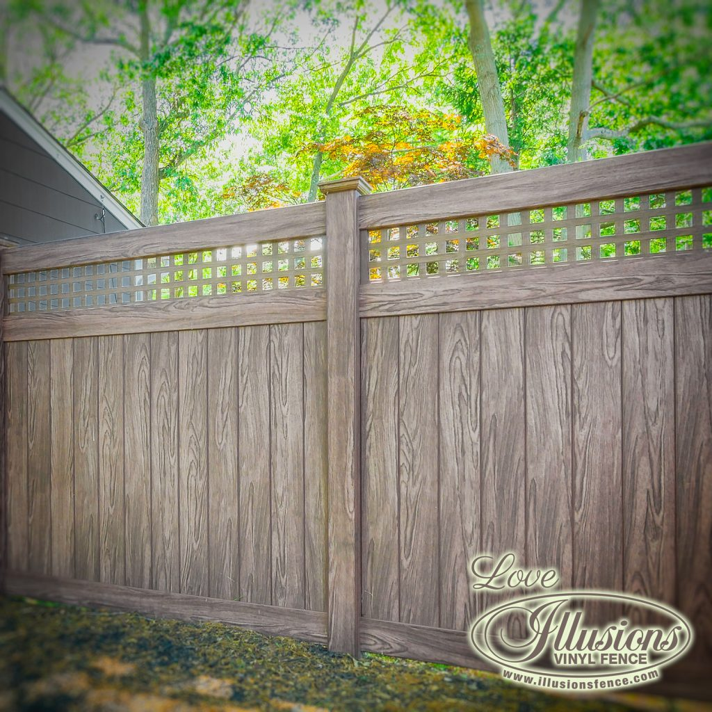 Got to love this rustic looking V3215SQ-6 Illusions vinyl privacy fence with square lattice shown in Walnut #fence #fences #fencing #vinylfence #vinylfencing #fencepanels #fenceideas #homeideas #homedecor #backyardideas #privacyfence #privacyfences #poolfence #poolfences #longisland #longislandny #newyork #connecticut #rhodeisland #massachusetts #connecticut #pennsylvania #newjersey #fencecompany #bestfence #fencecontractor #fenceinstaller #yardfence