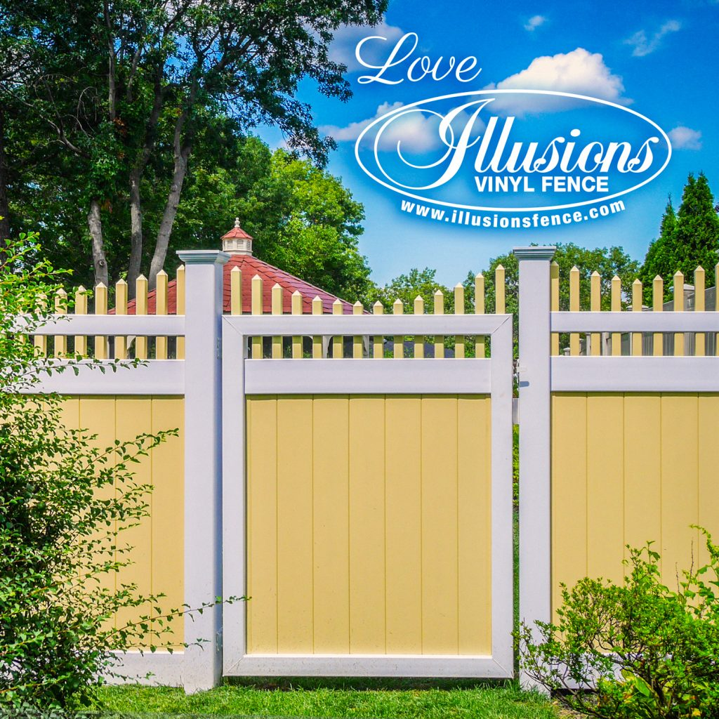 Got to love this Sahara Yellow and Patio White V3707-6 Illusions vinyl privacy fence with with scalloped picket top and matching gate #fence #fences #fencing #vinylfence #vinylfencing #fencepanels #fenceideas #homeideas #homedecor #backyardideas #privacyfence #privacyfences #poolfence #poolfences #longisland #longislandny #newyork #connecticut #rhodeisland #massachusetts #connecticut #pennsylvania #newjersey #fencecompany #bestfence #fencecontractor #fenceinstaller #yardfence