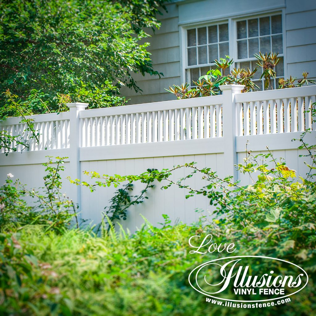 Got to love this historic looking V3701-6 Illusions vinyl privacy fence with with framed picket top in Patio White #fence #fences #fencing #vinylfence #vinylfencing #fencepanels #fenceideas #homeideas #homedecor #backyardideas #privacyfence #privacyfences #poolfence #poolfences #longisland #longislandny #newyork #connecticut #rhodeisland #massachusetts #connecticut #pennsylvania #newjersey #fencecompany #bestfence #fencecontractor #fenceinstaller #yardfence